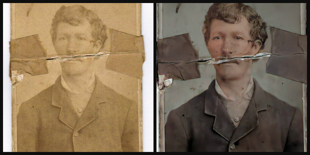 Comparison of B&W vs. color photo of young man with a mustache and short wavy brown hair, wearing a brown jacket.